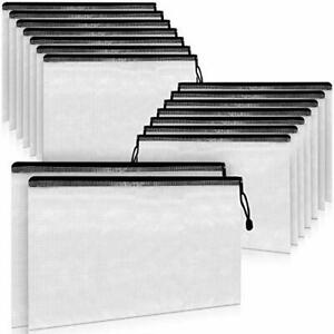 A4 Document Holder With Zipper Large Stylish Multipurpose 15 Pack Black