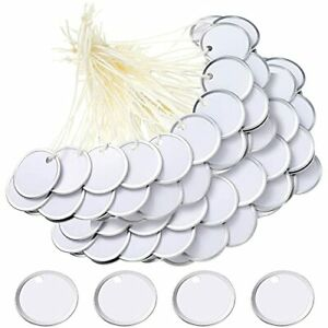 50 Pieces Metal Rim Tags Key Tags Round Blank Paper Tags With Knotted Strings