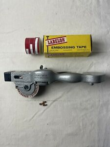 Vintage Dymo Mite Tapewriter Hand Embossing Label Maker Chrome With Tapes