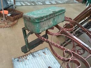 Antique vintage John Deere Tractor Tool Box W mounting Brackets Rare Find Green