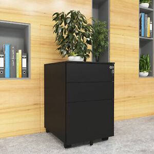 Yitahome Steel Filing Cabinets 3 drawers Organizer Rolling Lock Office Furniture