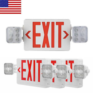 4 Pack Led Exit Sign Emergency Light hi Output Compact Combo Ul Listed red