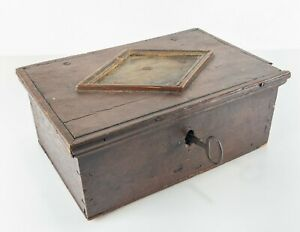 Antique Primitive Early Dutch German Americana Red Painted Deed Box Ironwork