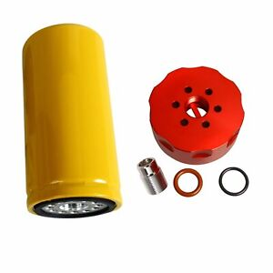 Diesel 6 6l Cat Fuel Filter Adapter Kit Red For 2001 2016 Gm Duramax