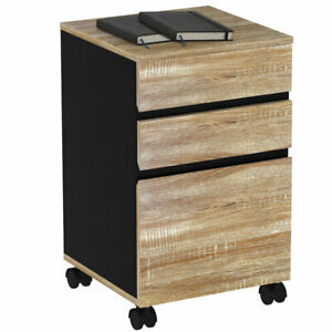 3 drawer Rolling File Cabinet Storage Organizer Wood Mobile Vertical Office Home