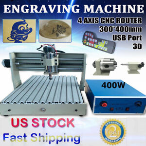 4 Axis 400w Usb Cnc 3040 Router Engraver Metal Drill Milling Machine controller
