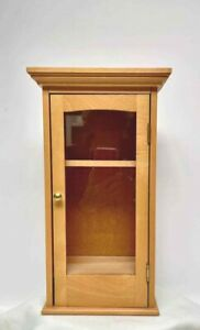Finished Wood Display Case Cabinet Doll Figurine Curio Wall Table Shelves Glass