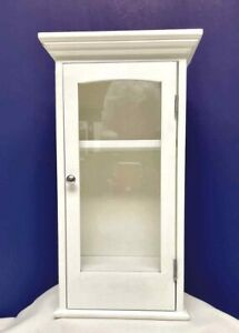 Painted Wood Display Case Cabinet Doll Figurine Curio Wall Table Shelves Glass