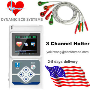 Contec Ecg Holter 3 Channel 24 Hours Analyzer Recorder Heart Pacemaker pc Sw