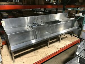 Used Perlick Bar Sink With Ice Bin 2 Drainboards And 2 Speedrails