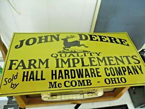 John Deere Embossed Sign Quality Farm Implements 23 5 X 12 1 4
