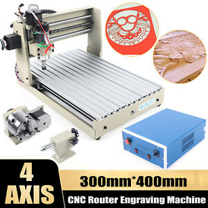 4 Axis Cnc 3040 Router Engraver Carving Cutting Drill milling Machine 110v 400w