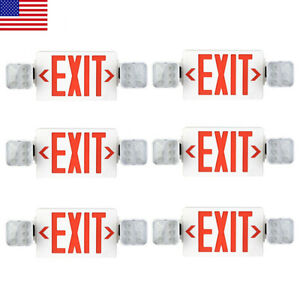 Led Exit Sign Emergency Light hi Output Compact Combo Ul Listed red 6 Pack