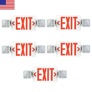 Led Exit Sign Emergency Light hi Output Compact Combo Ul Listed red 5 Pack