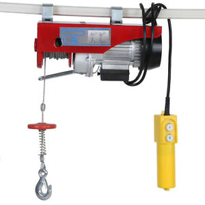 220 440lbs Electric Hoist Winch Lifting Engine Crane Wire Motor Ceiling Cable