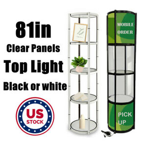 Us Stock 81in H Portable Round Twist Display Counter With Shelves top Light
