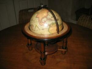 Vintage Made In Italy Wooden Desktop Old World Astrology Rotating Globe