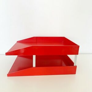 Vintage Stempco Usa Red Plastic Office Paper Trays Desk Top Organizer