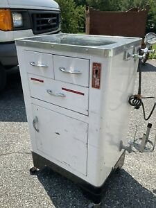 Vintge Art Deco Metal Medical Cabinet With Drawers Brain Suction Enamel Tools Lo