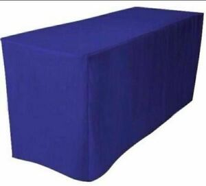 Fitted 8 Polyester Table Cover Trade Show Booth Banquet Tablecloth Blue Wedding