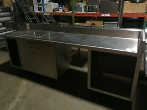 Used 105 2 compartment Commercial Sink And Work Table With 3 Storage Cabinets
