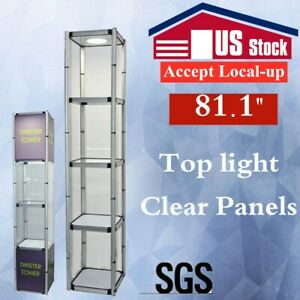 Us Stock 81 1 Square Portable Aluminum Spiral Tower Display Case With Shelves