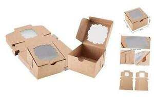 50 Pack Bakery Boxes With Window Pastry Boxes Dessert Boxes Treat Boxes Brown