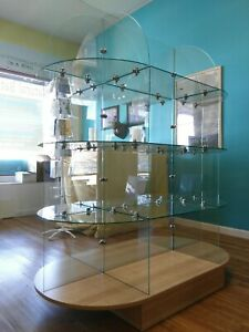 Retail Store Display 5 L X 5 5 High X 2 5 3 Tier Glass Oval Shelving
