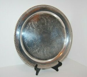 Vintage Leonard Silver Plate Large Round Serving Tray 15