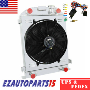 3 Rows Racing Radiator Shroud Fan Relay For 1932 Ford Flat Head V8 Stock Height