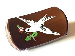 Painted Enamel Dove Of Peace On Brown Glass Antique Bird Button