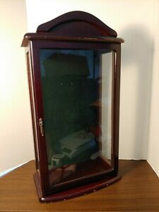 Wood And Glass Display Doll Case Cabinet Holder Figurine Case 21 5 tall