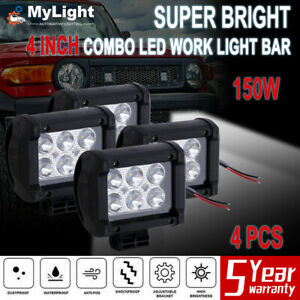 4x 4inch Pods Led Work Light Spot Lights For Truck Off Road Tractor 12v Square