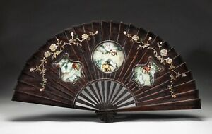 Chinese Rosewood Fan Shape W Hand Painted Porcelain Inlay Panels Wall Hanging