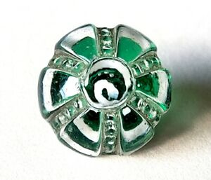 Antique Charmstring Glass Button Green Spiral Swirlback Paperweight Mid 1800s