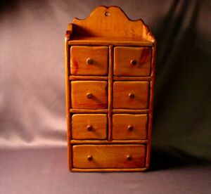 Vintage Wooden 7 Drawer Wall Hanging Spice Cabinet