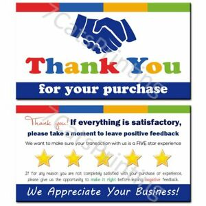 For Ebay Thank You Cards Order Notes Etsy Small Business Sets 100 250 500 1000