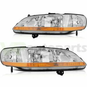 Fits Honda Accord 1998 2002 Headlights Assembly Pair Replacement Chrome Housing