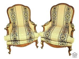 Louis Xv French Provincial Solid Mahogany Gilt Accented Lounge Chairs A Pair