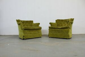 Pair Of Mid Century Modern Tufted Club Chairs
