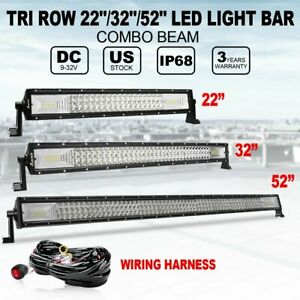 Tri Row 22 32 52 Led Light Bar Spot Flood Combo Driving For Jeep Suv Offroad