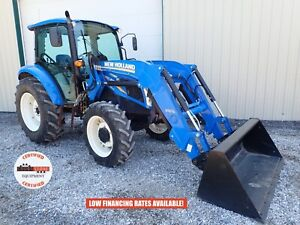 2011 New Holland Powerstar T4 75 Tractor W Loader Cab Heat ac 4x4 850 Hours
