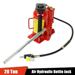 20 Ton Air Manual Pneumatic Hydraulic Low Profile Bottle Jack Lift Auto Tool Red