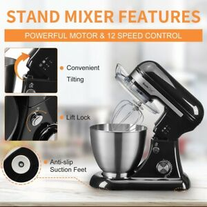 Geek Chef 4 8qt Electric Stand Food Mixer Stainless Steel Bowl Cream Egg Beater