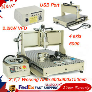 Usb 4axis Cnc 6090 Router Engraver Engraving Metal Cutter Milling Machine 2 2kw