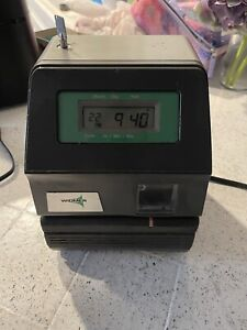 Acroprint 175 Electronic Digital Time Clock Recorder With Key fast Shipping