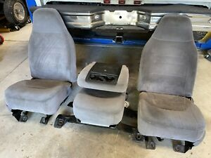 92 96 Ford Obs Pickup Truck Front Bucket Jump Seats Console 40 20 40 Gray