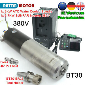 ue Free bt30 Atc 3kw Automatic Tool Change Water Spindle Motor 3 7kw Vfd 380v