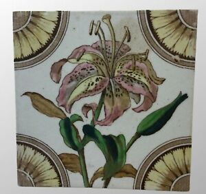 Antique English Old Ceramic Tile Architectural Salvage Floral 6 X 6