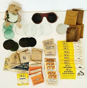 Large Lot Of Vintage Round And Rectangle Welding Lenses And Glasses